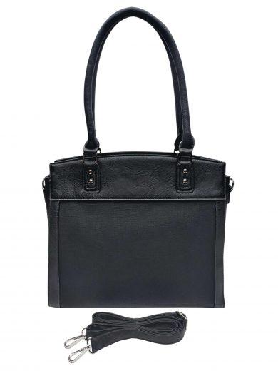 Stylová kabelka do ruky i přes rameno, Tapple, H190028, černá, přední strana kabelky do ruky s popruhem