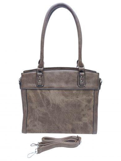 Stylová kabelka do ruky i přes rameno, Tapple, H190028, šedohnědá, přední strana kabelky do ruky s popruhem