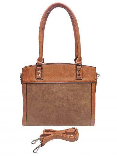 Stylová kabelka do ruky i přes rameno, Tapple, H190028, středně hnědá, přední strana kabelky do ruky s popruhem