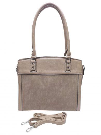 Stylová kabelka do ruky i přes rameno, Tapple, H190028, světle hnědá, přední strana kabelky do ruky s popruhem
