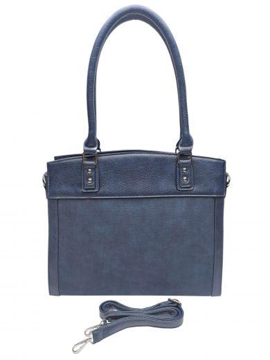 Stylová kabelka do ruky i přes rameno, Tapple, H190028, tmavě modrá, přední strana kabelky do ruky s popruhem