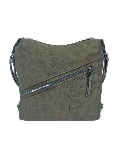 Velký dámský kabelko-batoh s šikmou kapsou, Tapple, H18077N, khaki, přední strana kabelko-batohu