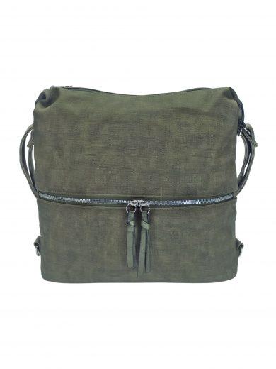 Moderní dámský kabelko-batoh z eko kůže, Tapple, H190010, khaki / hnědozelený, přední strana kabelko-batohu