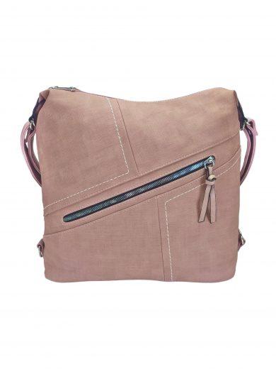 Velký dámský kabelko-batoh s šikmou kapsou, Tapple, H18077N, starorůžový, přední strana kabelko-batohu