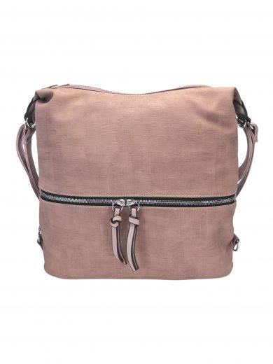 Moderní dámský kabelko-batoh z eko kůže, Tapple, H190010, starorůžový, přední strana kabelko-batohu