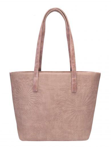 Slušivá dámská kabelka přes rameno s texturou, Tapple, H17409, starorůžová, přední strana kabelky přes rameno