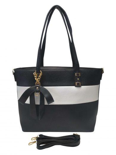 Elegantní dámská kabelka se slušivou ozdobou, Alexia, Z998-9, černo-bílá, přední strana kabelky do ruky s popruhem