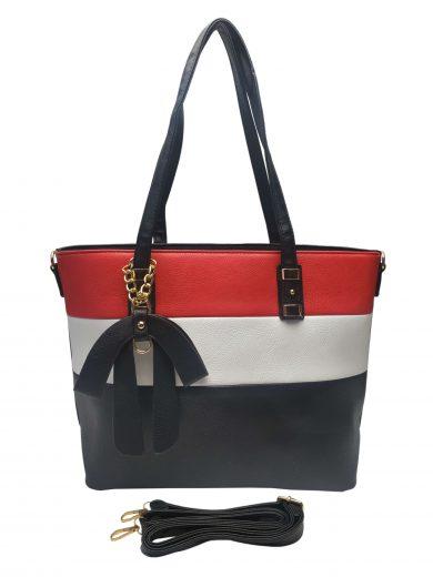 Elegantní dámská kabelka se slušivou ozdobou, Alexia, Z998-9, černo-bílo-červená, přední strana kabelky do ruky s popruhem