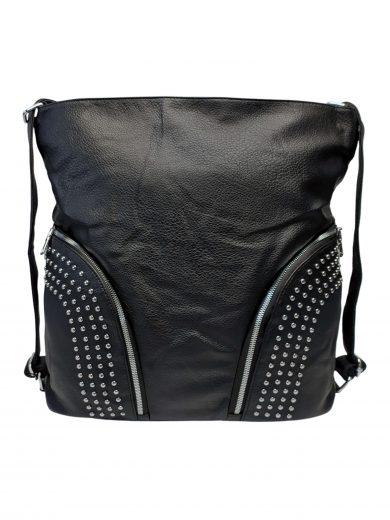 Kabelka a batoh v jednom se slušivými kapsami, Co & Coo Fashion, 0957, černý, přední strana kabelky a batohu v jednom