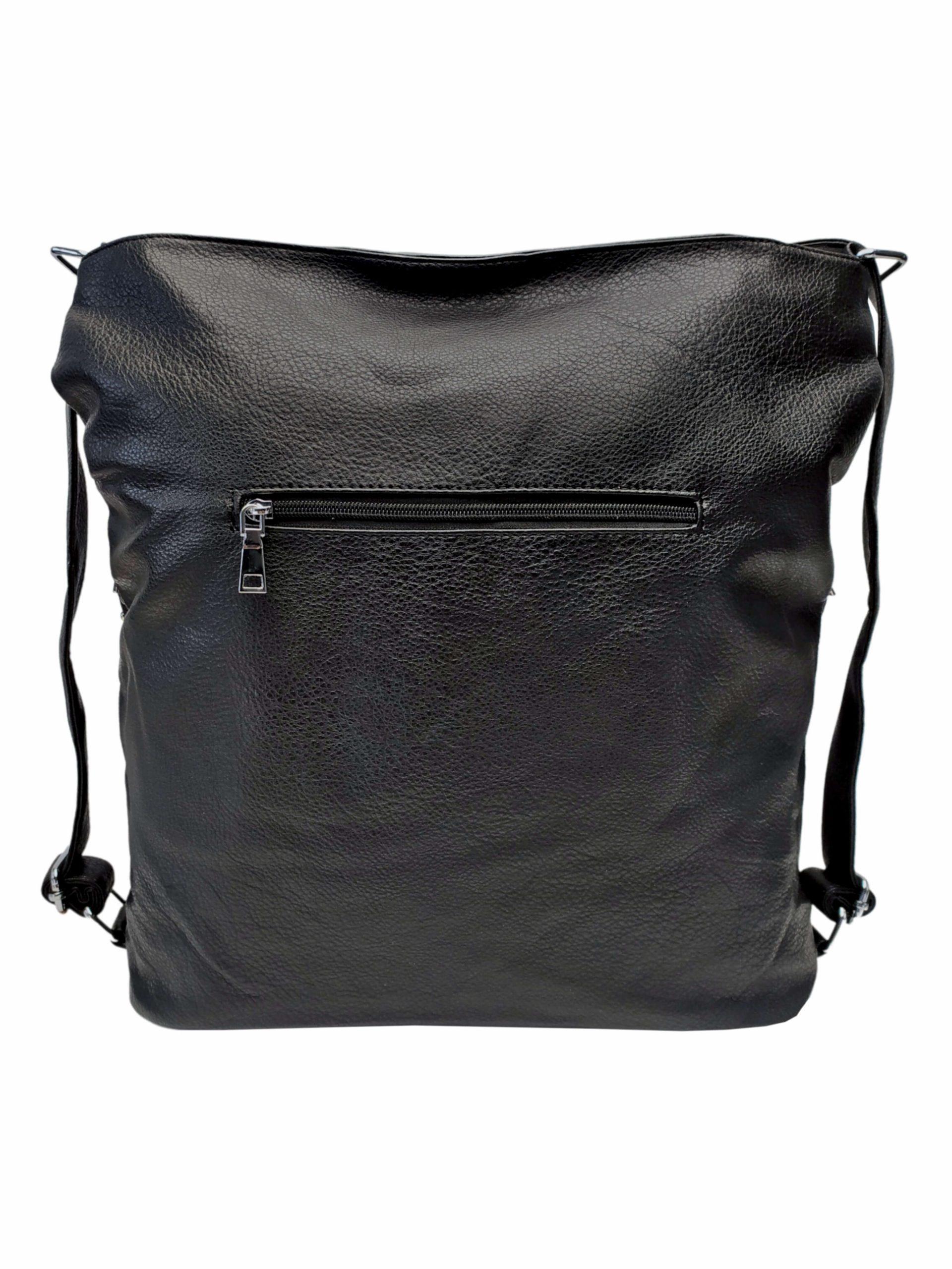 Černá kabelka a batoh v jednom se slušivými kapsami, Co & Coo Fashion, 0957, zadní strana kabelky a batohu v jednom