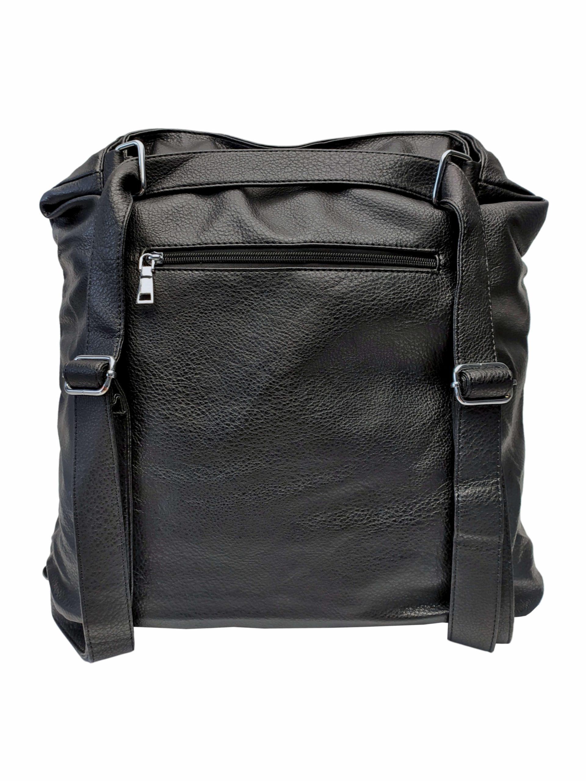 Černá kabelka a batoh v jednom se slušivými kapsami, Co & Coo Fashion, 0957, zadní strana kabelky a batohu v jednom s popruhy
