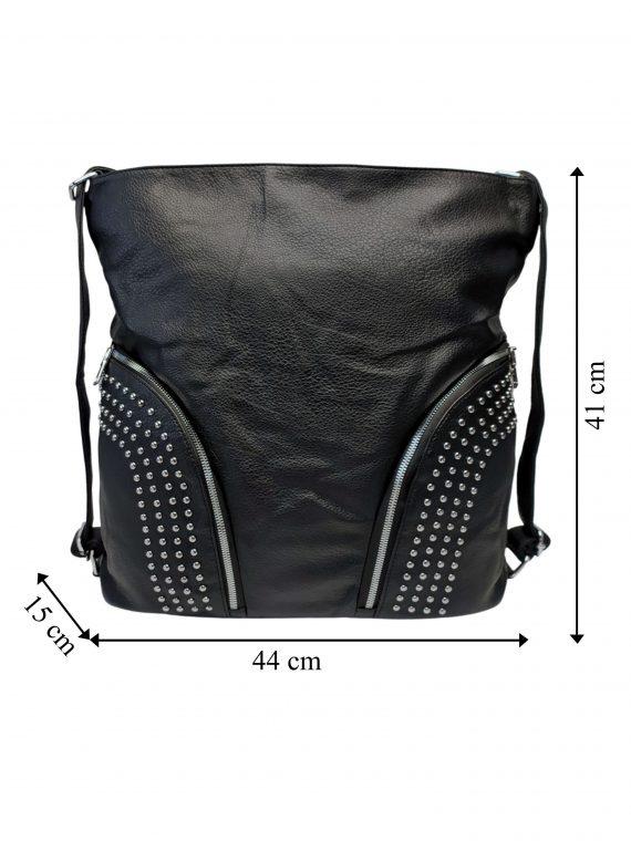 Kabelka a batoh v jednom se slušivými kapsami, Co & Coo Fashion, 0957, černý, přední strana kabelky a batohu v jednom s rozměry