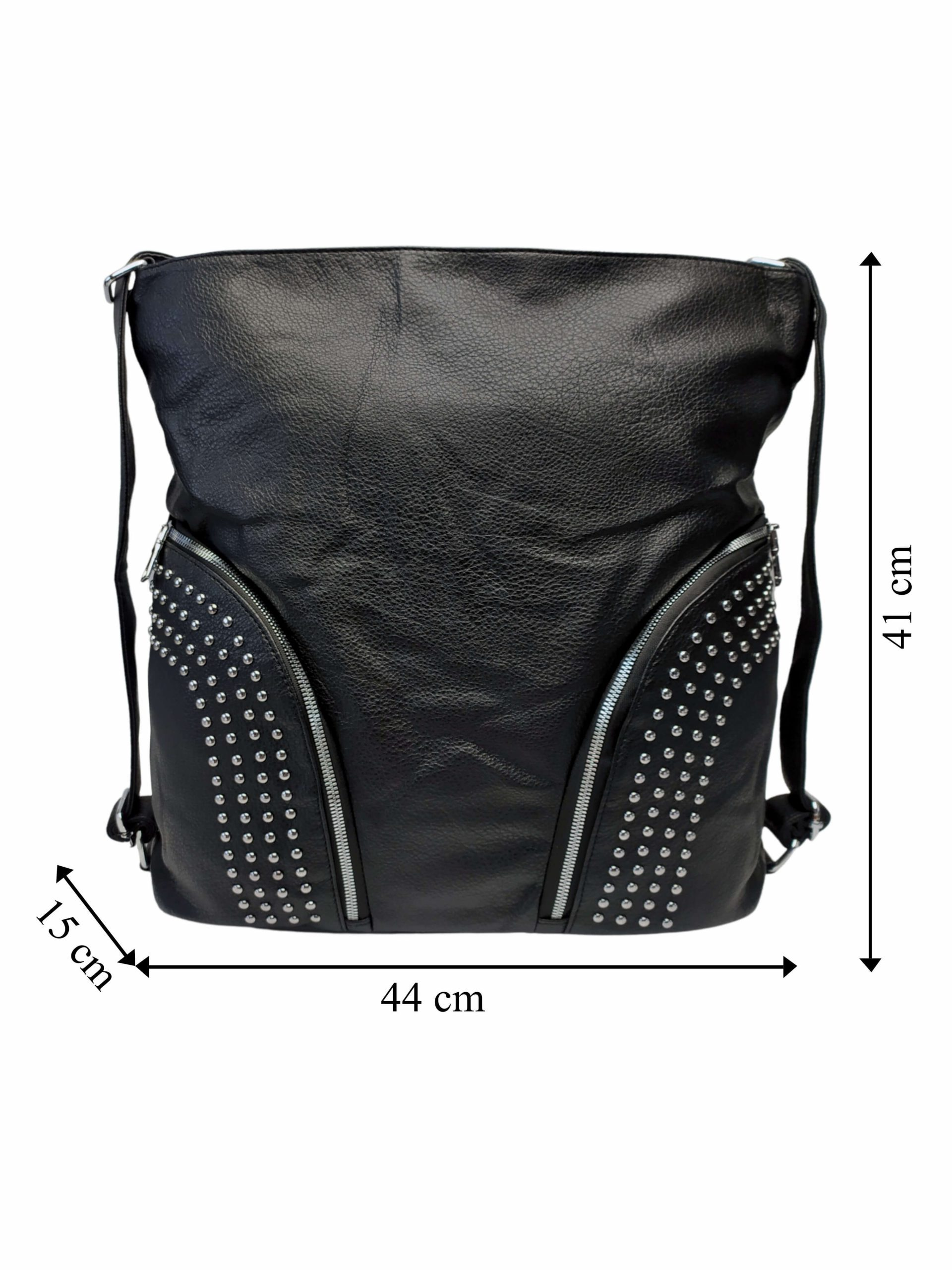 Černá kabelka a batoh v jednom se slušivými kapsami, Co & Coo Fashion, 0957, přední strana kabelky a batohu v jednom s rozměry