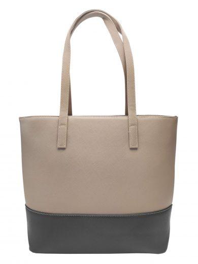 Slušivá dvoubarevná kabelka přes rameno Tapple, H17419, šedohnědá, přední strana kabelky přes rameno