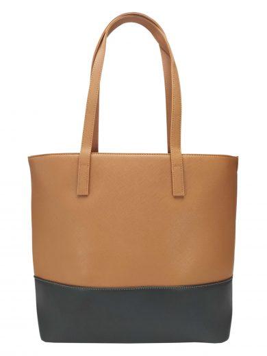 Slušivá dvoubarevná kabelka přes rameno Tapple, H17419, středně hnědá, přední strana kabelky přes rameno