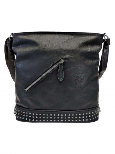 Velká dámská kabelka a batoh 2v1 s šikmou kapsou, Jessica Bags, 2034, černý, přední strana kabelky a batohu 2v1