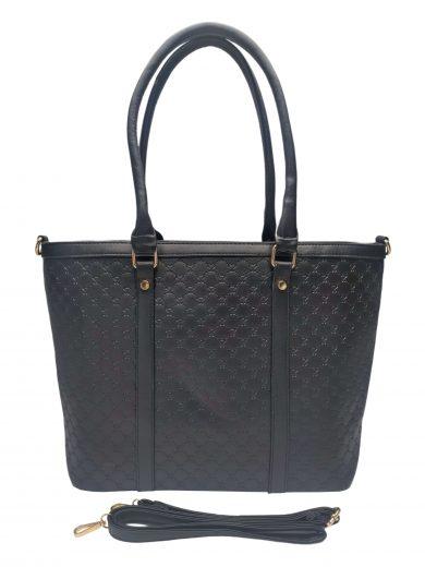 Velká dámská kabelka se stylovým vzorem, Sara Moda, 6124, černá, přední strana kabelky do ruky s popruhem