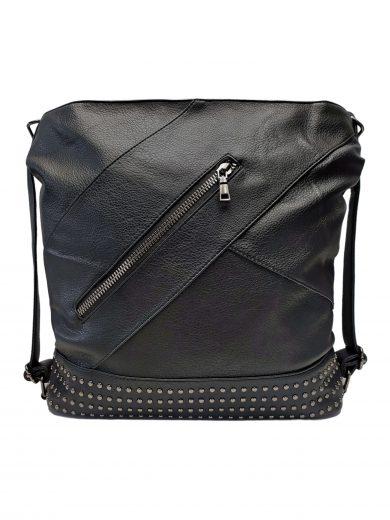 Velký dámský kabelko-batoh 2v1 s šikmými vzory, Co & Coo Fashion, 0956, černý, přední strana kabelko-batohu 2v1