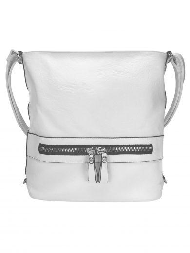 Velký dámský kabelko-batoh 2v1 z eko kůže, Tapple, H20805, bílý, přední strana kabelko-batohu 2v1