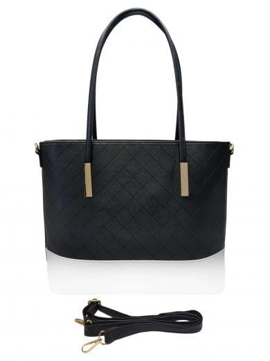 Stylová dámská kabelka se zlatými detaily, Sara Moda, 8138-1, černá, přední strana kabelky do ruky s popruhem