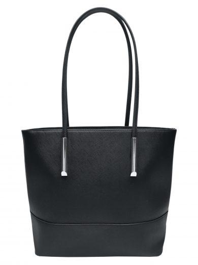 Stylová kabelka přes rameno z eko kůže, Tapple, H17419N, černá, přední strana kabelky přes rameno