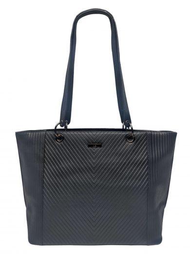 Velká dámská kabelka s pruhovými vzory, Ola, G-9212, černá, přední strana kabelky přes rameno