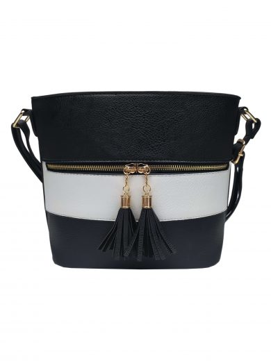 Crossbody kabelka se stylovými třásněmi, Sara Moda, 8157, černobílá, přední strana crossbody kabelky