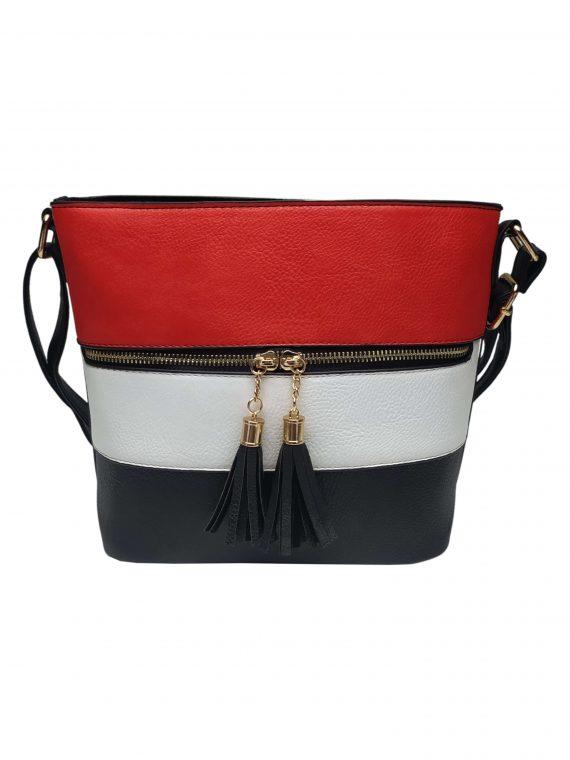 Crossbody kabelka se stylovými třásněmi, Sara Moda, 8157, černo-bílo-červená, přední strana crossbody kabelky