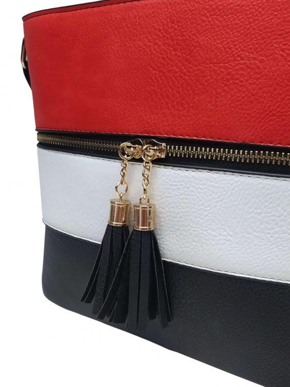Crossbody kabelka se stylovými třásněmi, Sara Moda, 8157, černo-bílo-červená, detail crossbody kabelky