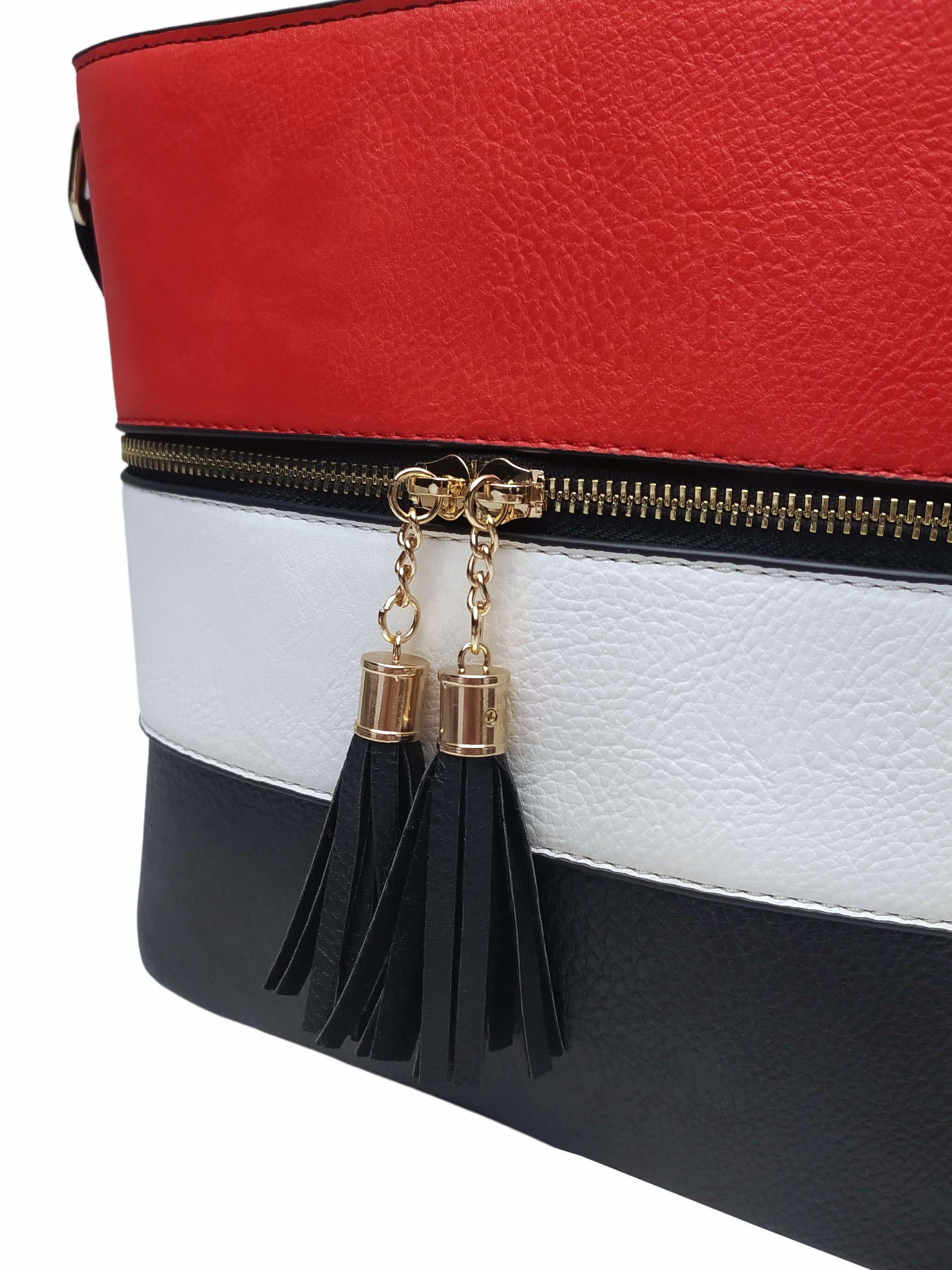 Černo-bílo-červená crossbody kabelka s třásněmi, Sara Moda, 8157, detail crossbody kabelky