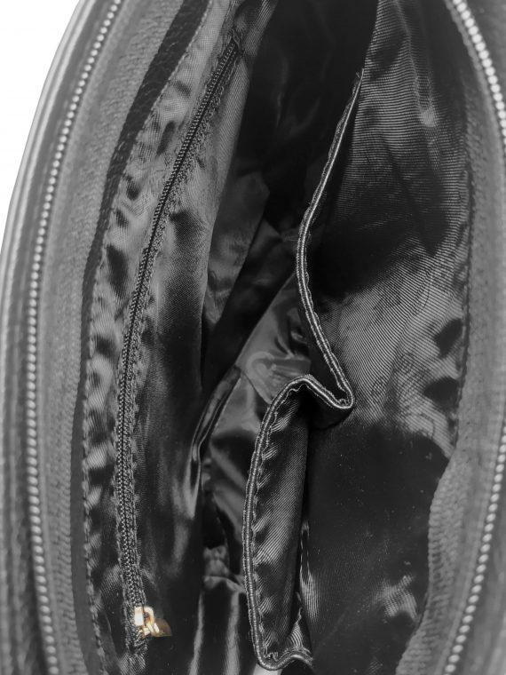Crossbody kabelka se stylovými třásněmi, Sara Moda, 8157, černo-bílo-červená, vnitřní uspořádání crossbody kabelky