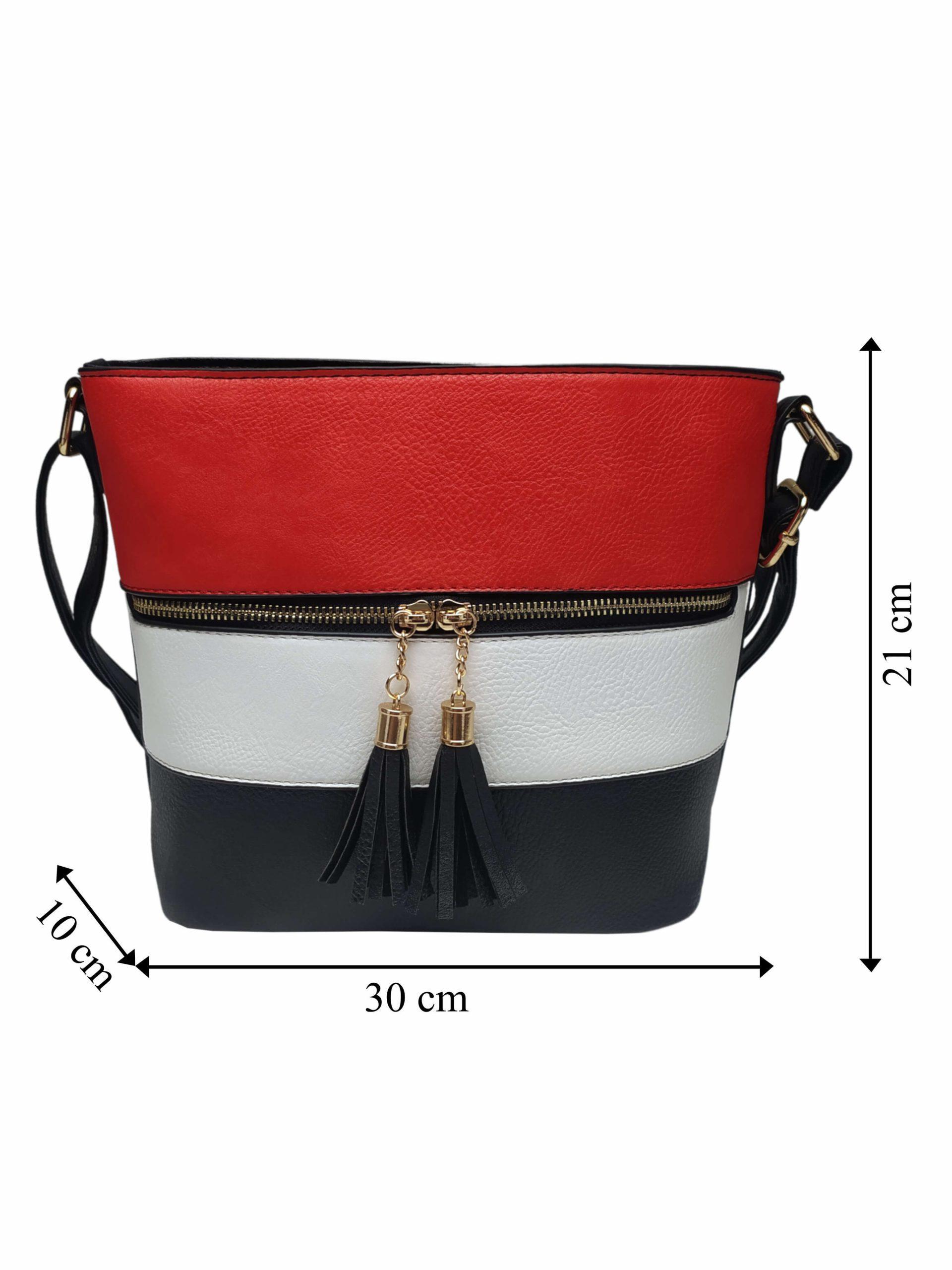 Černo-bílo-červená crossbody kabelka s třásněmi, Sara Moda, 8157, přední strana crossbody kabelky s rozměry