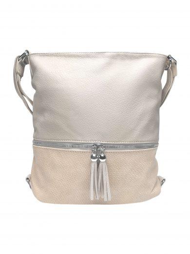 Střední kabelko-batoh 2v1 se slušivými třásněmi, Bella Belly, 5394, béžový, přední strana kabelko-batohu