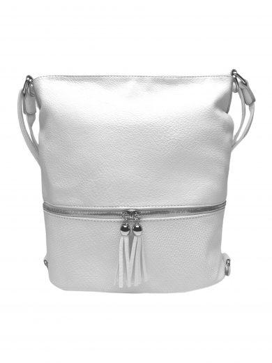 Střední kabelko-batoh 2v1 se slušivými třásněmi, Bella Belly, 5394, bílý, přední strana kabelko-batohu