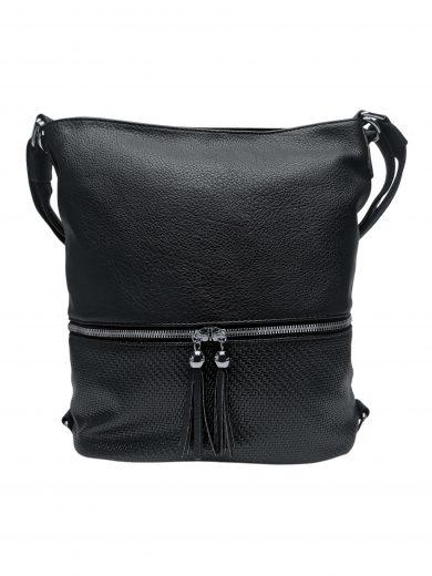 Střední kabelko-batoh 2v1 se slušivými třásněmi, Bella Belly, 5394, černý, přední strana kabelko-batohu