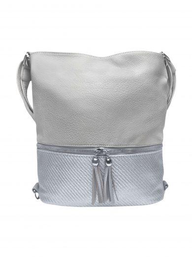 Střední kabelko-batoh 2v1 se slušivými třásněmi, Bella Belly, 5394, světle šedý, přední strana kabelko-batohu