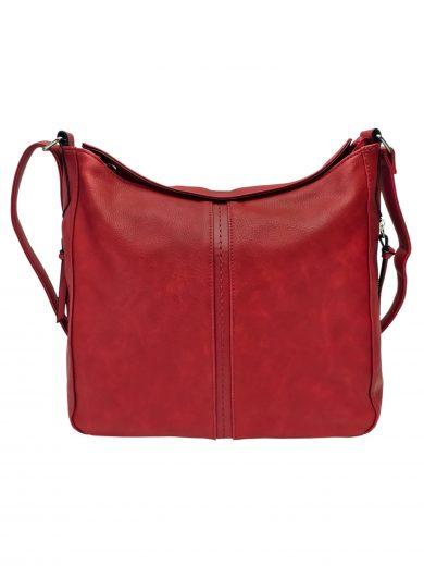 Velká tmavě červená crossbody kabelka s bočními kapsami, Tapple, H18037, přední strana crossbody kabelky