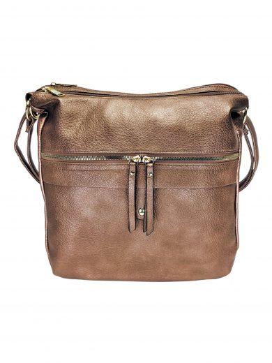 Velký kabelko-batoh 2v1 s praktickou kapsou, Int. Company, H23, bronzový, přední strana kabelko-batohu