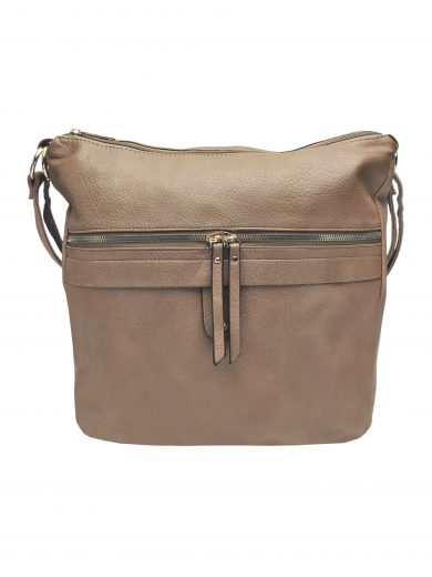 Velký kabelko-batoh 2v1 s praktickou kapsou, Int. Company, H23, hnědošedý, přední strana kabelko-batohu