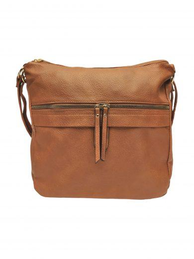 Velký kabelko-batoh 2v1 s praktickou kapsou, Int. Company, H23, středně hnědý, přední strana kabelko-batohu