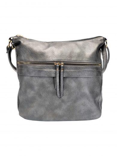 Velký kabelko-batoh 2v1 s praktickou kapsou, Int. Company, H23, stříbrný, přední strana kabelko-batohu